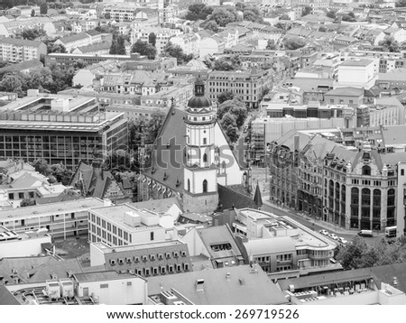 Aerial view of the city of Leipzig in Germany with the Thomaskirche church in black and white - stock photo