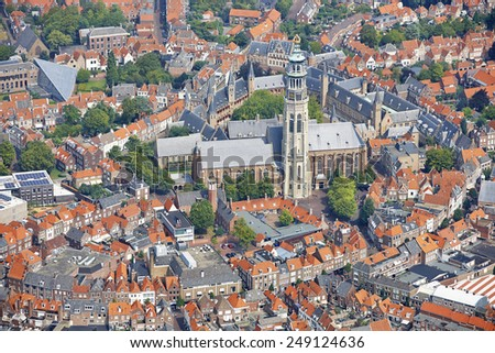 Aerial view of the city of Middelburg in the province of Zeeland, the Netherlands - stock photo