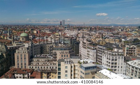 Aerial view of the city of Milan, Italy