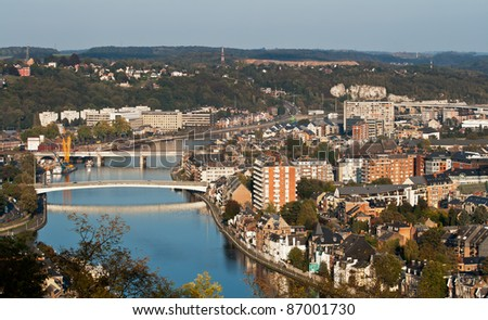 Aerial view of the city of Namur, Belgium - stock photo