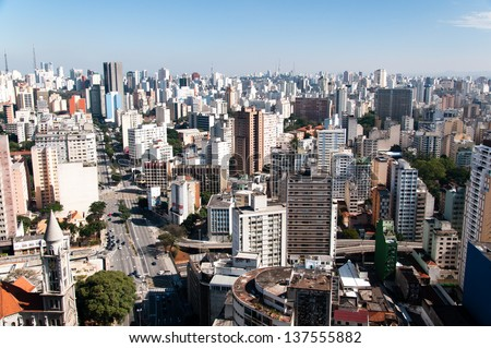 Aerial view of the city of sao paulo region avenue consolation - stock photo