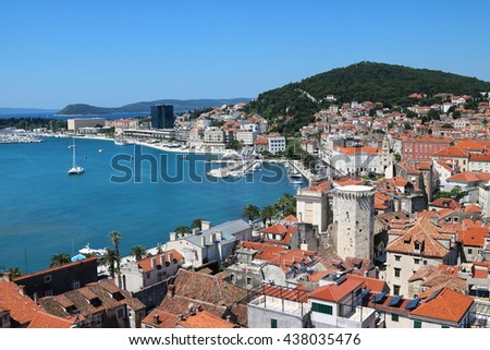 Aerial view of the city of Split, a popular cruise destination in Croatia - stock photo