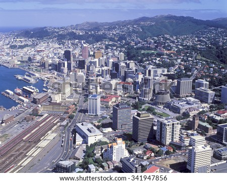 aerial view of the city of Wellington, New Zealand.