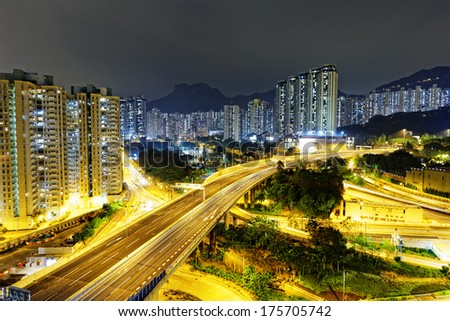 aerial view of the city overpass at night, HongKong, Asia  - stock photo