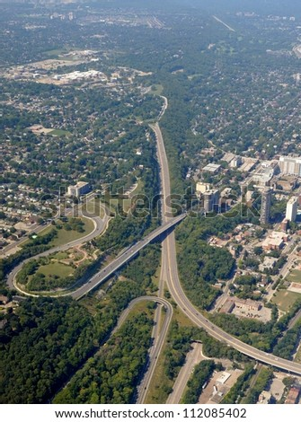 aerial view of the Claremont, Sherman and Jolly Cut access, Hamilton Ontario Canada - stock photo