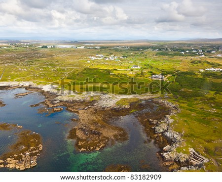 Aerial view of the Coast of Conemara, county Galway, Ireland. - stock photo