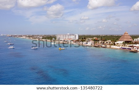 Aerial view of the coastline of Cozumel, Mexico - stock photo