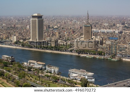 Aerial view of the downtown area of Cairo along the Nile River as viewed from the top of Cairo Tower. Cairo, Egypt April 26, 2014.