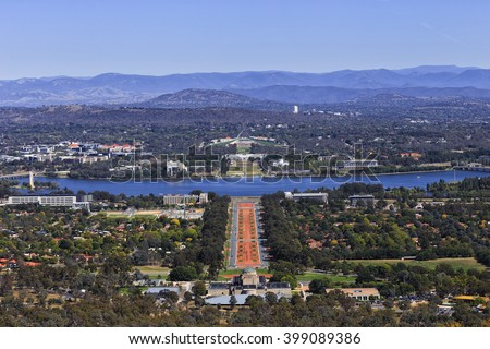 aerial view of the downtown of Canberra - from War memorial to lake Burley Griffin and old and new Parliament houses on Capitol hill. - stock photo