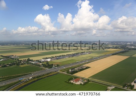 Aerial View of the Dutch Countryside