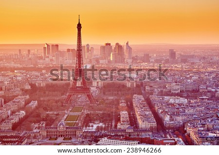 Aerial view of the Eiffel tower at sunset. Paris, France - stock photo