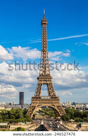 Aerial view of the Eiffel Tower in Paris, France in a beautiful summer day - stock photo