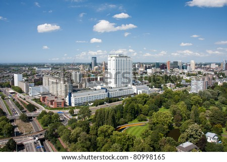 Aerial view of the Erasmus university hospital of Rotterdam, the Netherlands - stock photo