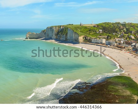 Aerial view of the Etretat, France, and famous cliff La Falaise d'Amont - stock photo