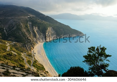 Aerial view of the exotic Myrtos beach in Kefalonia island - stock photo