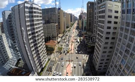 Aerial View of the famous Avenida Paulista (Paulista Avenue) in Sao Paulo, Brazil - stock photo