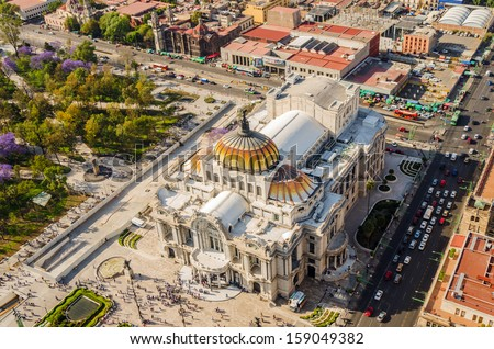 Aerial view of the Fine Arts Museum in Mexico City - stock photo