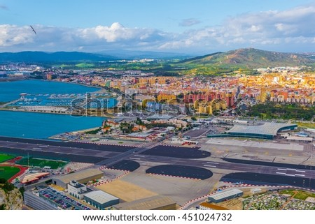 aerial view of the gibraltar airport from the great siege tunnels - stock photo