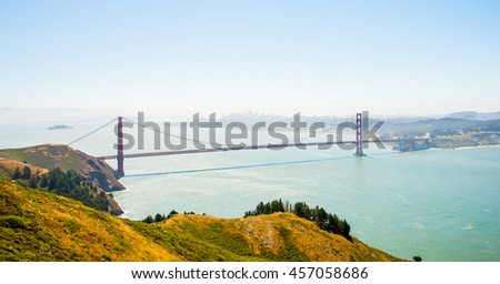 Aerial view of the Golden Gate bridge in San Francisco