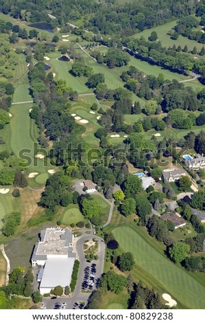 aerial view of the Golf and Country Club in Brantford Ontario, Canada
