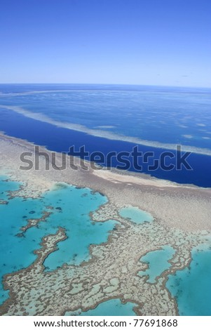 Aerial view of the Great Barrier Reef, far north Queensland, Australia - stock photo