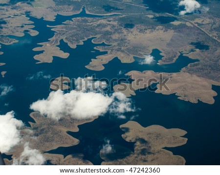 Aerial view of the headlands and Harbor Delta area in Brisbane, Australia - stock photo