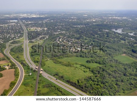 aerial view of the highway intersection intersection in Brantford, Ontario Canada - stock photo