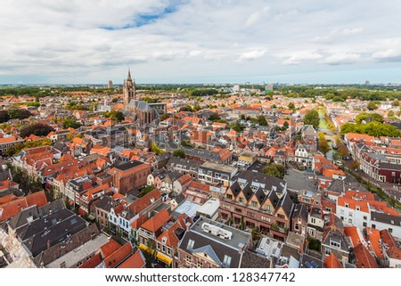 Aerial view of the historic city Delft in The Netherlands - stock photo