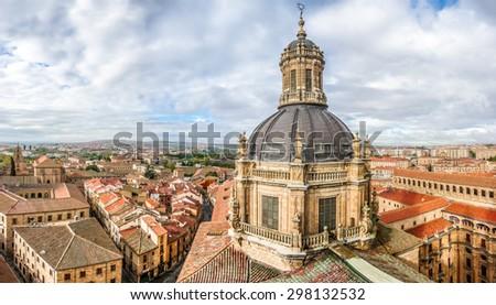 Aerial view of the historic city of Salamanca from the Top of Iglesia de la Clerecia at sunrise, Castilla y Leon region, Spain - stock photo