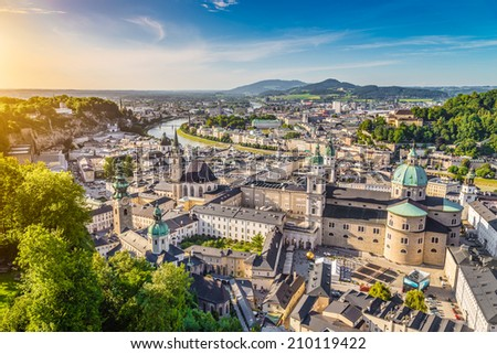 Aerial view of the historic city of Salzburg at sunset, Salzburger Land, Austria - stock photo