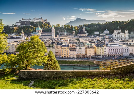 Aerial view of the historic city of Salzburg with Hohensalzburg Fortress in beautiful evening light, Salzburger Land, Austria - stock photo
