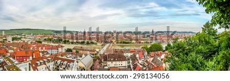 Aerial view of the historic city of Wurzburg, region of Franconia, Northern Bavaria, Germany - stock photo