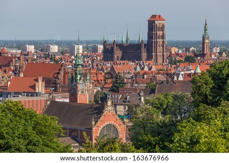 Aerial view of the historic old town in Gdansk. - stock photo