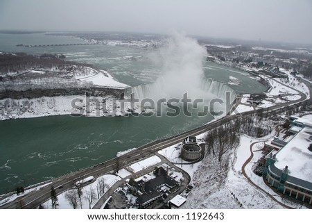Aerial View of the Horseshoe Falls - stock photo