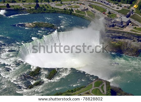 aerial view of the Horseshoe Falls in Niagara Falls Ontario, view towards the Canadian side, late Spring - stock photo