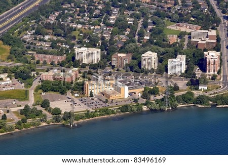 aerial view of the Hospital along the shore of Lake Ontario, Burlington Ontario Canada