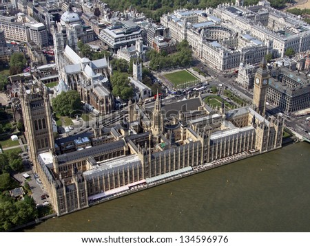 Aerial view of the Houses of Parliament and Big Ben in London