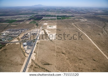 Aerial view of the Hunt Highway looking south towards Florence, Arizona - stock photo