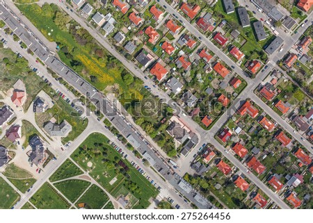 aerial view of  the Klodzko city suburbs in Poland - stock photo