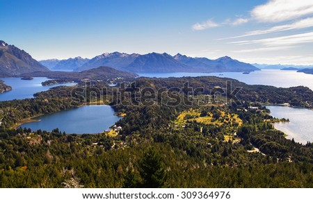 Aerial view of the Lake district. San Carlos de Bariloche, Patagonia Argentina - stock photo