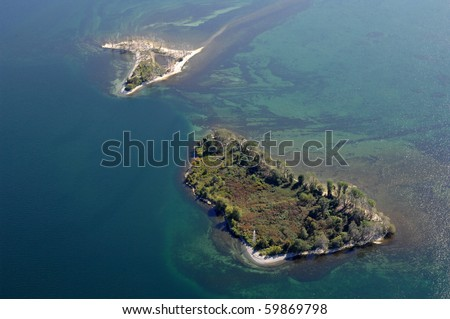 Aerial view of the lake Ontario uninhibited island. - stock photo