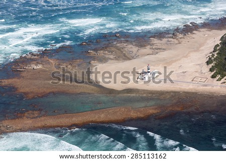 Aerial view of the lighthouse and beach at Cape Recife, Port Elizabeth - stock photo