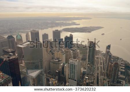 Aerial view of the Lower Manhattan, New York City. - stock photo