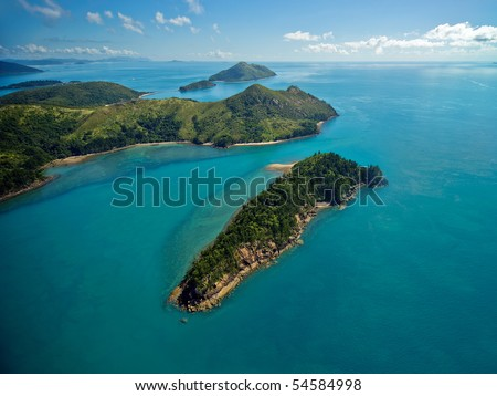 Aerial view of the lush Whitsunday Islands - stock photo