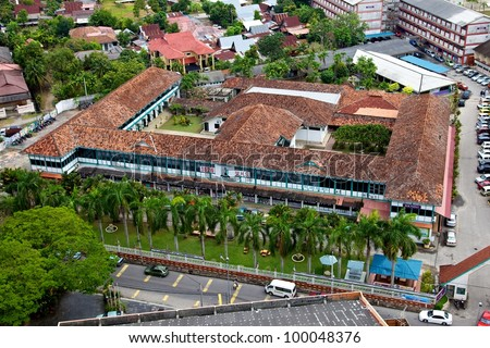 Aerial view of the Malacca High School, Malaysia - stock photo