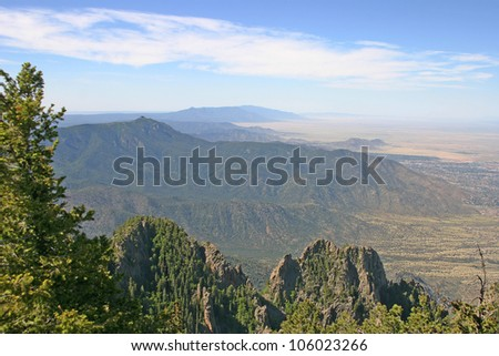 Aerial view of the Manzano Mountains outside of Albuquerque - stock photo