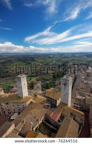 Aerial view of the medieval village San Gimignano in Tuscany, Italy - stock photo