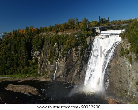 aerial view of the montmorency falls near quebec city - stock photo