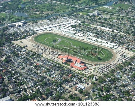 aerial view of the New Orleans Fair Grounds Race Course, venue of the 2012 Jazz & Heritage Festival; New Orleans Louisiana USA - stock photo