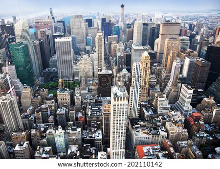 Aerial view of the New York City Skyline - stock photo